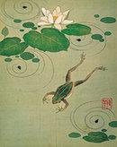 酒井抱一 筆 『絵手鑑の内蓮池に蛙図』  ちなみに静嘉堂文庫美術館では、収蔵作品の多くを絵はがきにしています。
