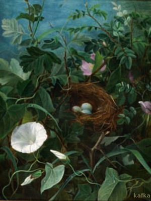 A bird's nest hidden between bindweed and roses by Emma Thomsen 1857 bruun-rasmussen