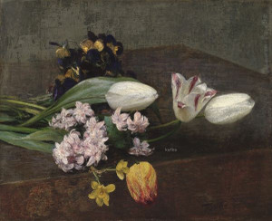 A Flower Still Life with Hyacinths, Tulips and Pansies, 1871