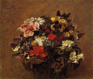 Bouquet of Flowers Pansies 1883