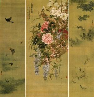 椿椿山 「玉堂富貴・遊蝶・藻魚図」 1840年