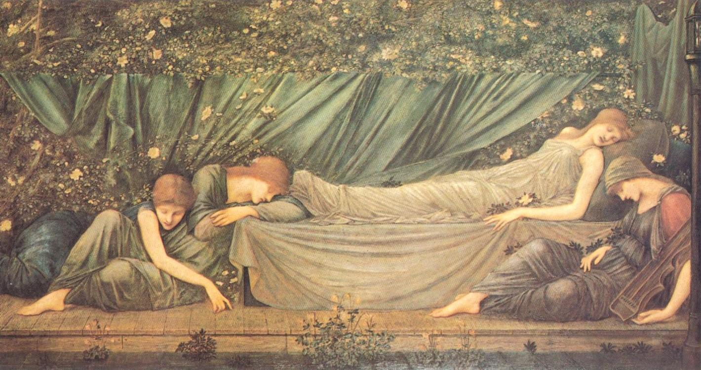 Edward_burnejones 「The Rose Bower」(la bella addormen) 1872.  Hugh Lane Gallery of Modern Art, Dublin.